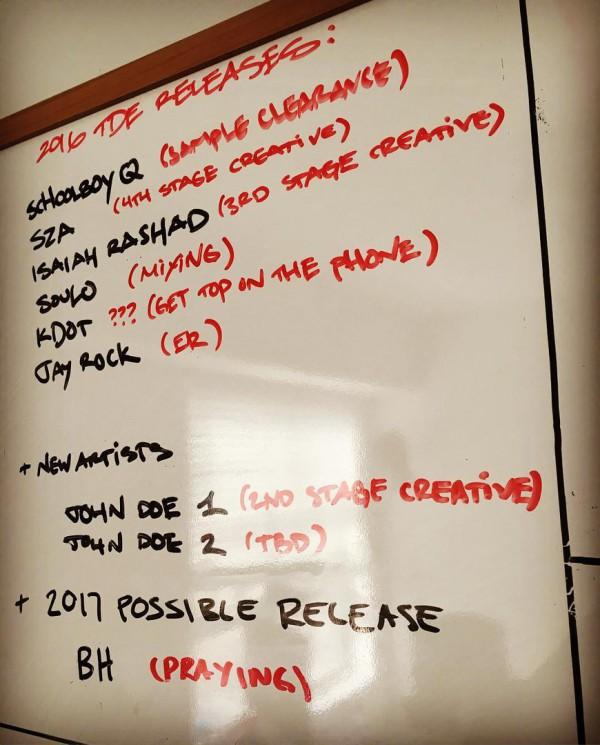 Лейбл TDE анонсировал график релизов на 2016 год
